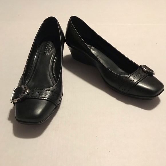 Black Geox Buckle Shoes